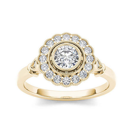 1/2 CT. T.W. Diamond Flower Halo 10K Yellow Gold Engagement Ring, 7 1/2 , No Color Family