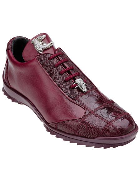 Men's Dark Burgundy Belvedere Paulo Genuine Ostrich Casual Sneakers