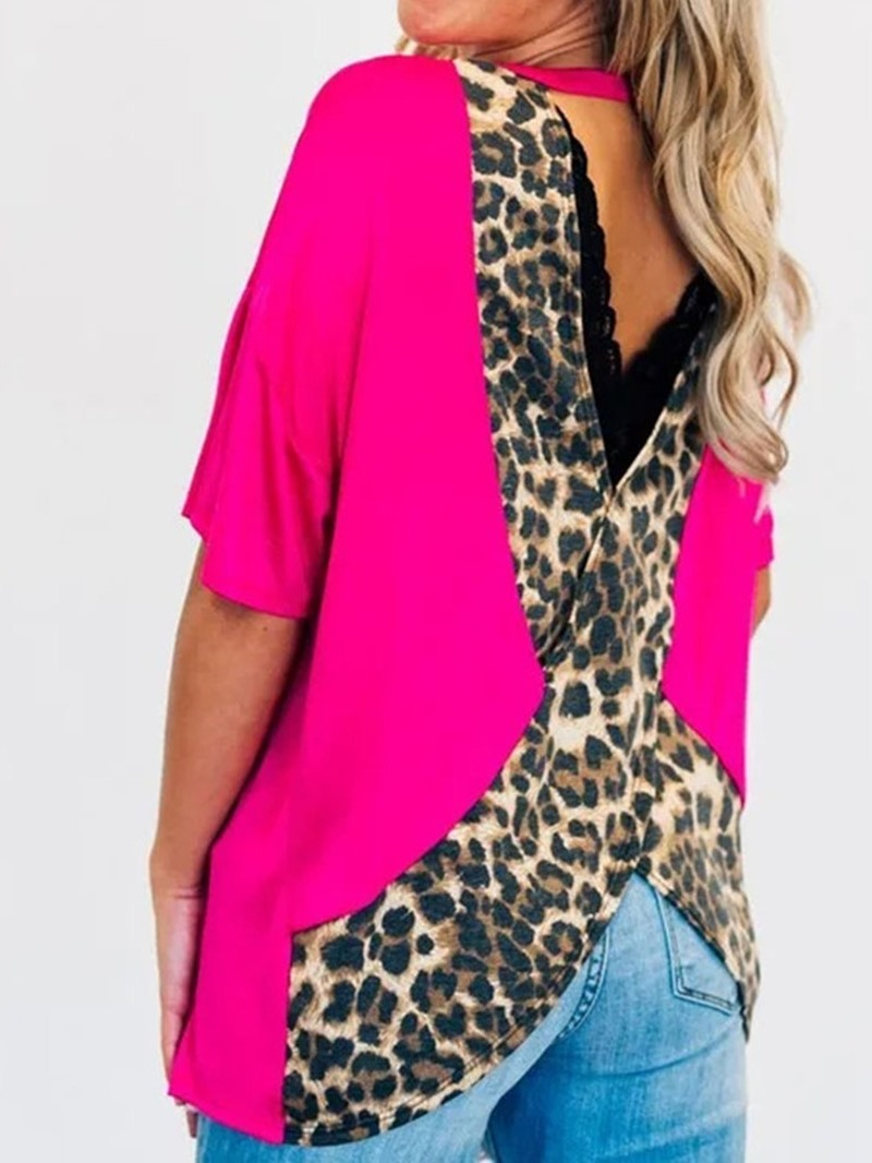 Ericdress Patchwork Leopard Backless Casual T-Shirt