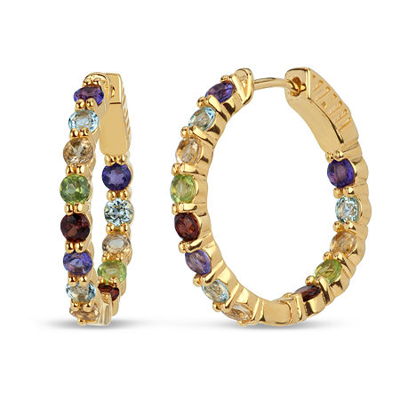 Genuine Multi Color 18K Gold Over Silver 24.6mm Hoop Earrings, One Size , No Color Family