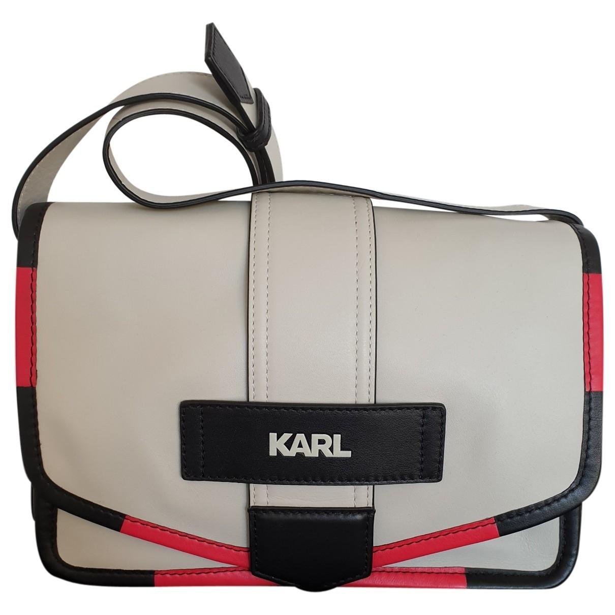 Karl - Sac a main   pour femme en cuir - ecru