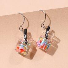 Clear Bottle Drop Earrings