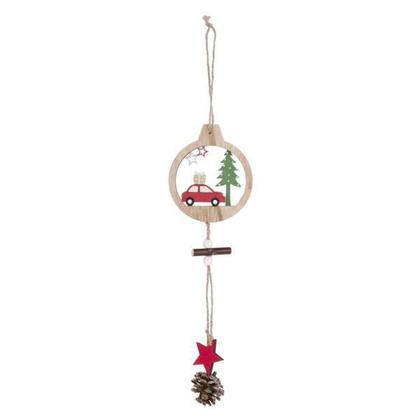 Ornement de voiture suspendue de Noël avec pomme de pin et étoile, 11