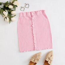 Button Front Lettuce Trim Rib-knit Skirt