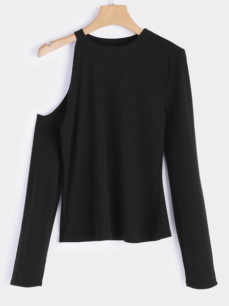 Yoins Black Cut Out Plain Cold Shoulder Long Sleeves Blouse