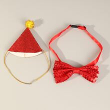 1pc Dog Hat & 1pc Sequin Decor Dog Bow