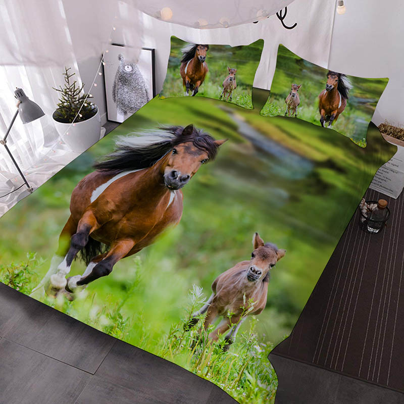 Running Horse And Foal 3D Printed 3-Piece Polyester Comforter Sets