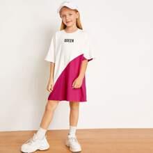 Maedchen Kleid mit Buchstaben Grafik und Farbblock