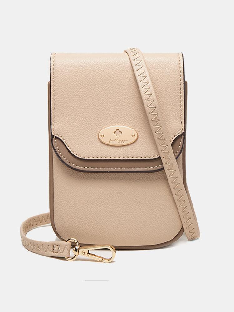 Women PU Leather 3 Card Slots Money Clip 6.5 Inch Phone Holder Crossbody Bag