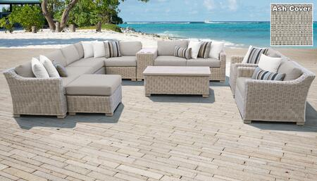 Coast Collection COAST-12b-ASH 12-Piece Patio Set 12b with 1 Corner Chair   4 Armless Chair   1 Ottoman   1 Cup Table   1 Storage Coffee Table   2