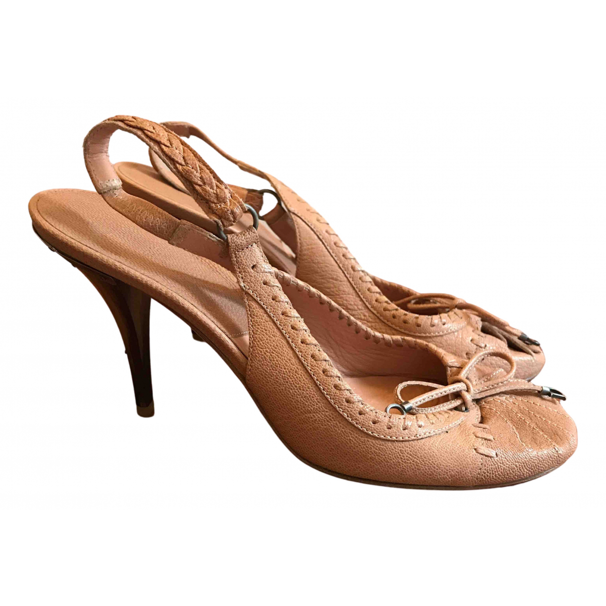 Dior N Pink Leather Heels for Women 38 EU