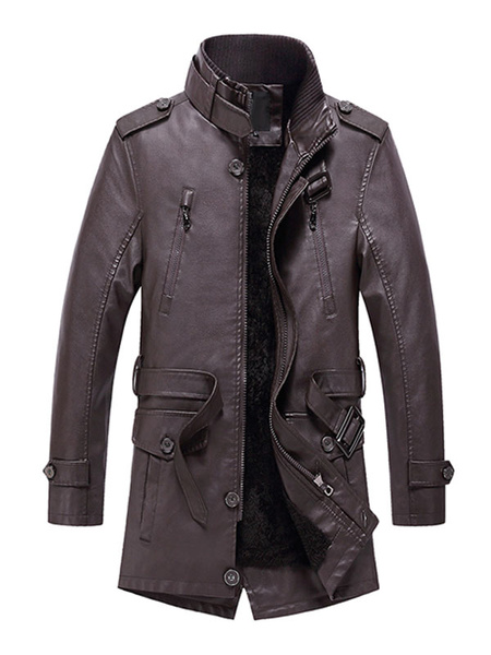 Milanoo Leather Jacket For Men Long PU Jacket With Zipper
