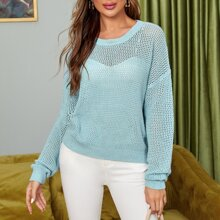 Drop Shoulder Open Knit Sweater Without Bra