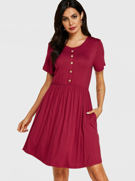Yoins Red Round Neck Front Button Short Sleeves Dress
