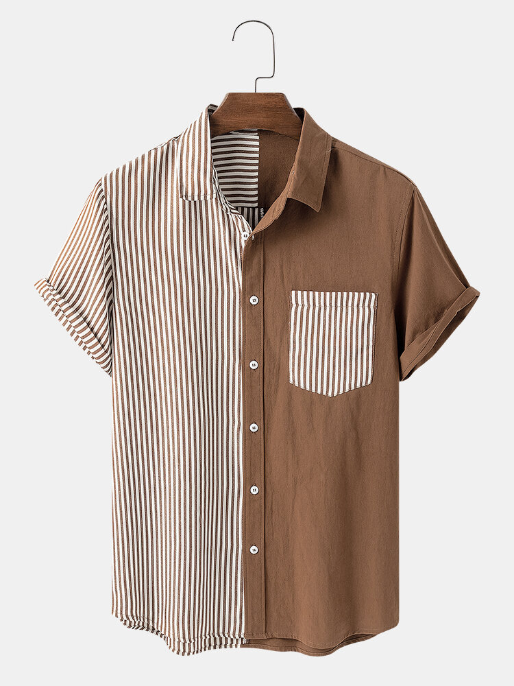 Mens Design Contrast Striped & Patchwork Chest Pocket Casual Shirts