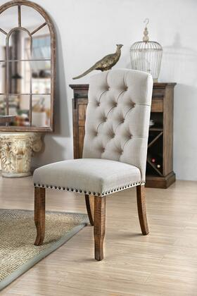 BM183673 Button Tufted Fabric Upholstery Side Chair  Cream And Brown  Pack Of