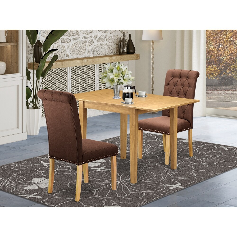 Rectangle Breakfast Table and Wooden Dining Room Chairs with Chocolate Color Linen Fabric Seat (Number of Chairs Option) (2-Piece Sets)