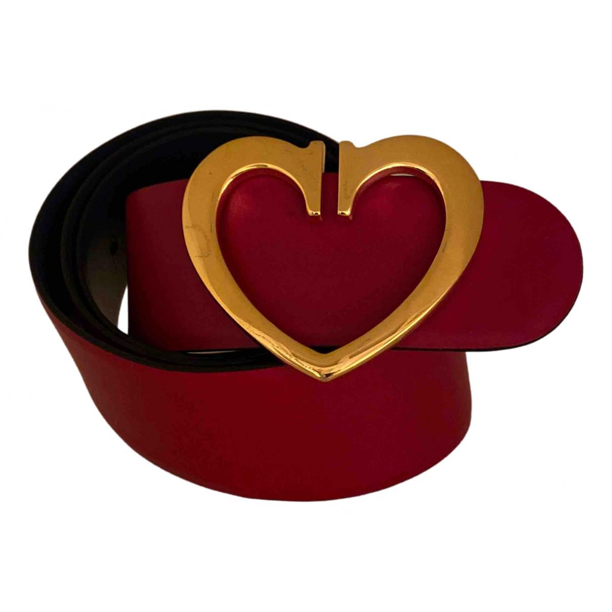 Cruciani \N Guertel in  Rot Leder