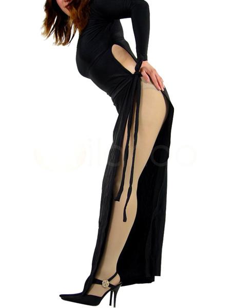 Milanoo Disfraz Halloween Lado abierto Lycra Negro Vestido Spandex Halloween