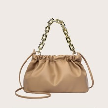 Chain Handle Ruched Bag