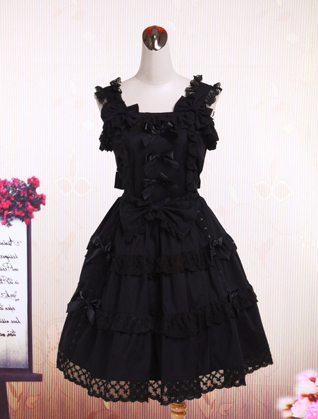 Milanoo Cotton Black Sleeveless Gothic Lolita Dress