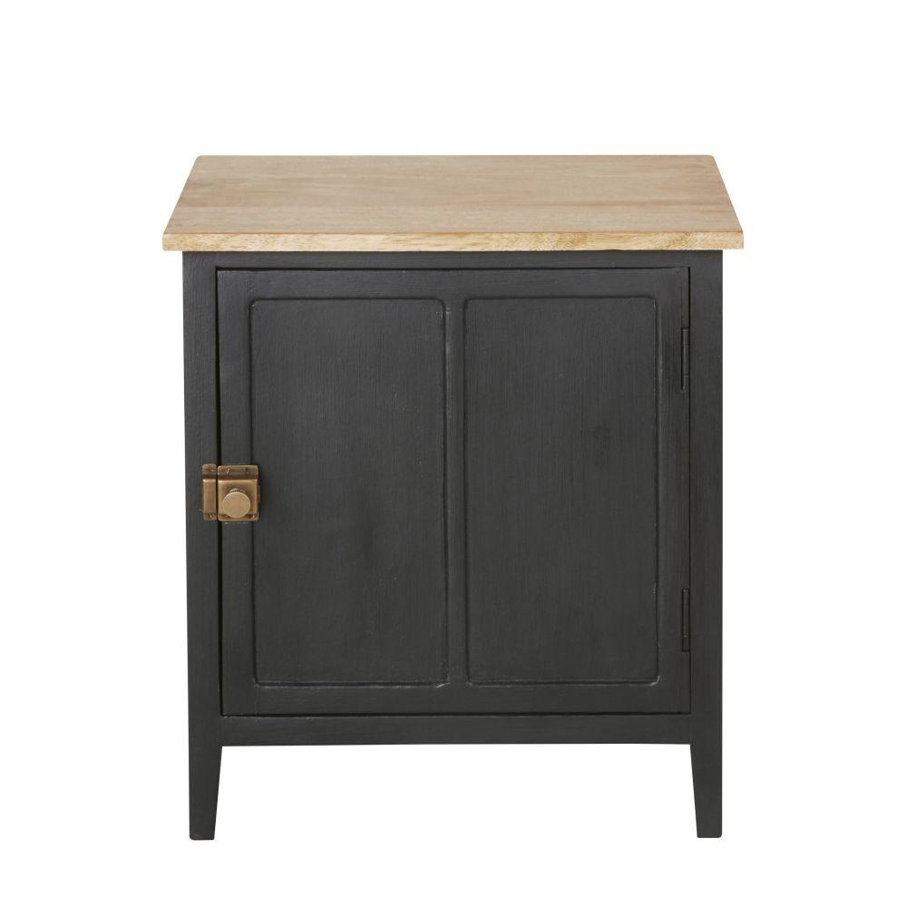 Nachttisch mit 1 Tuer aus massivem Mangoholz, schiefergrau Cezanne