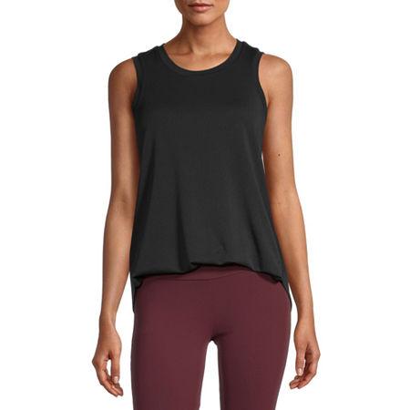 Stylus Shirttail Womens Round Neck Sleeveless Tank Top, Small , Black
