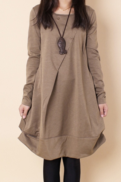 Ericdress Patchwork Solid Color Round Collar Loose Casual Dress