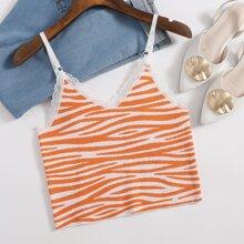 Lace Trim Zebra Striped Knit Top