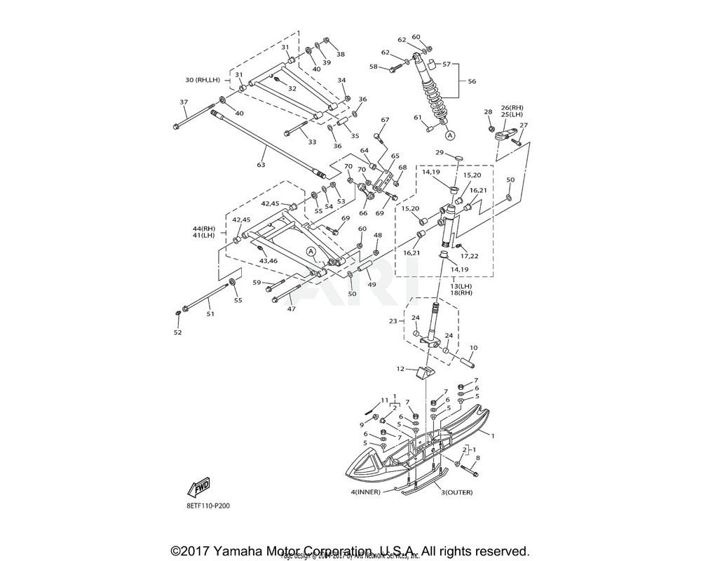 Yamaha OEM 8HG-23570-20-00 FRONT LOWER ARM COMP. (LEFT)