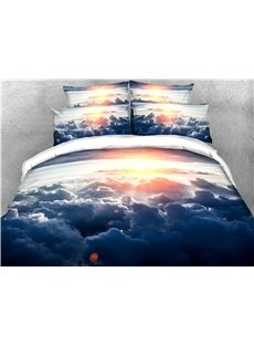 Sky Clouds and Sunlight Printed 4-Piece 3D Bedding Sets/Duvet Covers