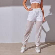 Solid 2 In 1 Elastic Waist Sports Pants
