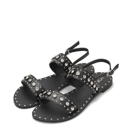 Yoins Black Glod-tone Hardware Leather Look Flat Sandals