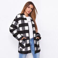 Mantel mit offener Vorderseite, Taschen vorn und Karo Muster