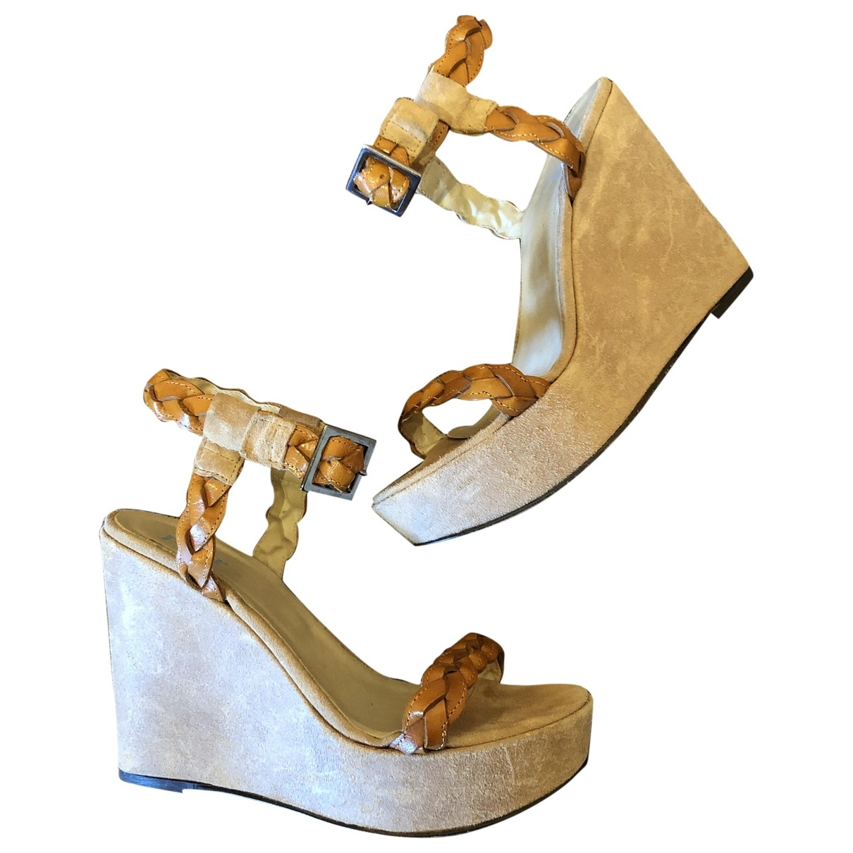 Non Signé / Unsigned \N Camel Leather Sandals for Women 38 EU