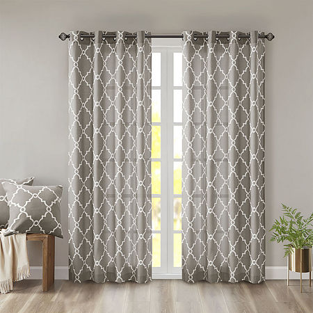 Madison Park Westmont Fretwork Print Light-Filtering Grommet-Top Single Curtain Panel, One Size , Gray