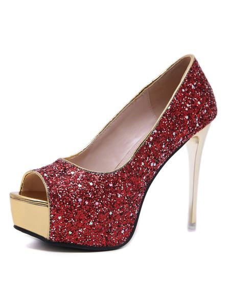 Milanoo Women\\'s Evening Pumps Glitter High Heel Platform Peep Toe Sequins Party Shoes