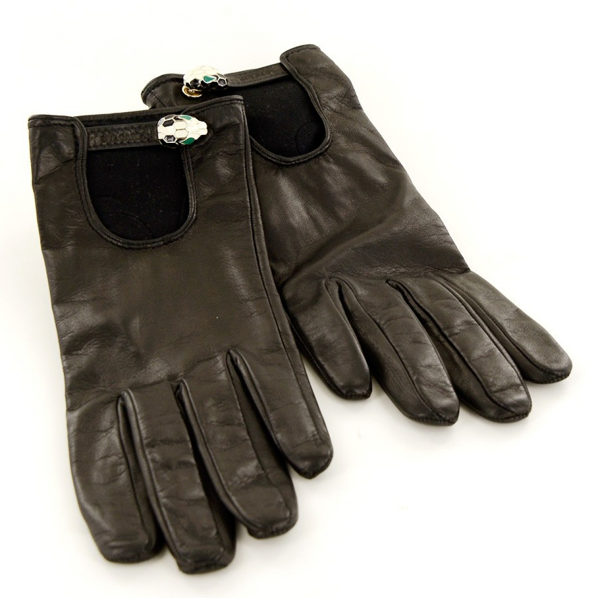 Bvlgari \N Black Leather Gloves for Women S International