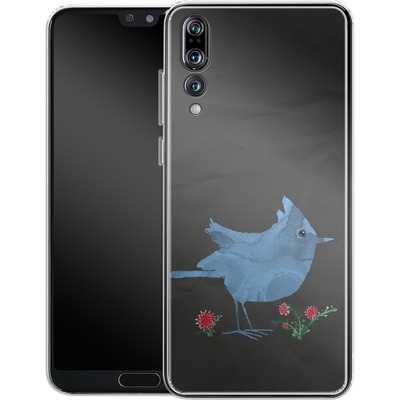 Huawei P20 Pro Silikon Handyhuelle - Watercolour Bird Black von caseable Designs