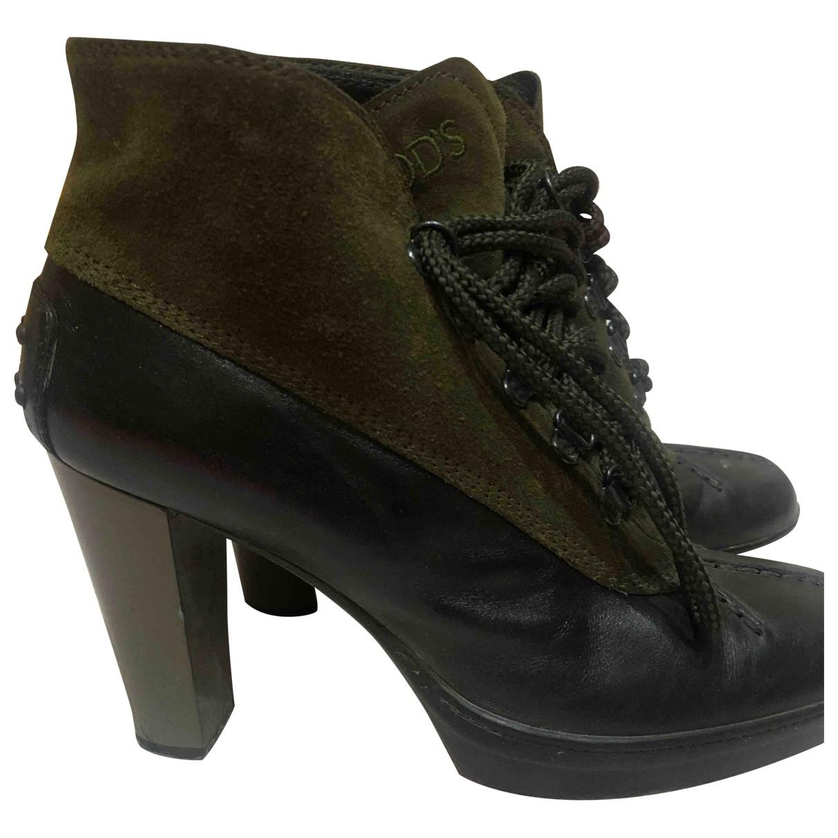 Tods - Boots   pour femme en suede - kaki
