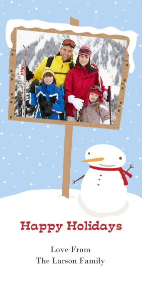 Holiday Photo Cards Flat Glossy Photo Paper Cards with Envelopes, 4x8, Card & Stationery -Snowman Sign