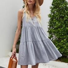 Solid Ruffle Hem Loose Cami Dress