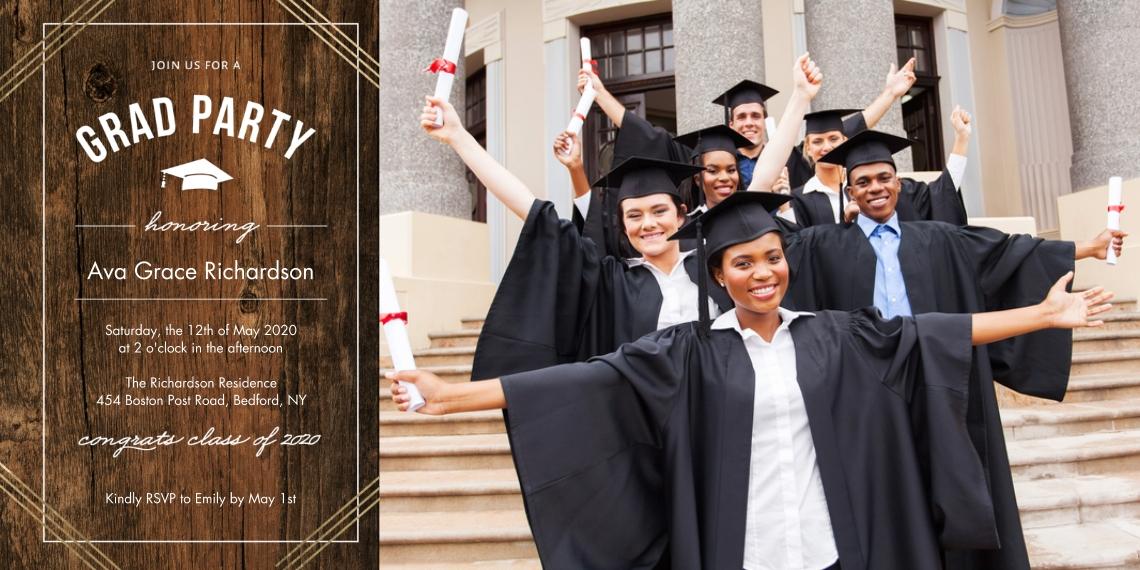 2020 Graduation Invitations 4x8 Flat Card Set, 85lb, Card & Stationery -2020 Grad Party Gold Stripes by Tumbalina