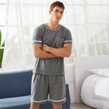Men Contrast Binding Pajama Set