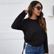 Ruched Drawstring Side Waffle Knit Tee