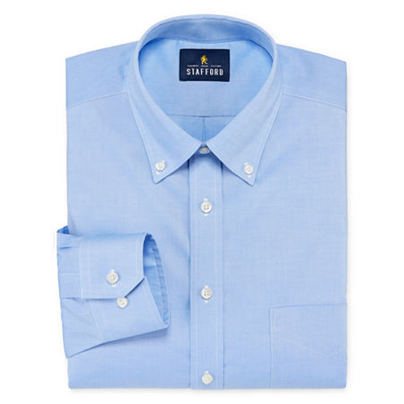 Stafford Mens Non-Iron Cotton Pinpoint Oxford Button Down Collar Stretch Big and Tall Dress Shirt, 19 36-37, Blue