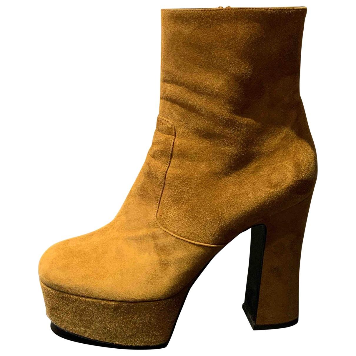 Saint Laurent - Boots Billy pour femme en suede - camel