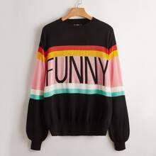 Plus Letter Pattern Colorblock Sweater