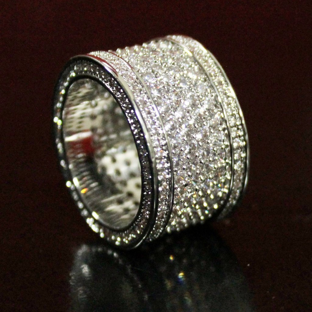 Fat 6 Row Eternity Bling Bling CZ Ring in Rhodium