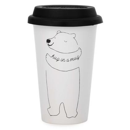 Tasse à café de voyage imprimée avec couvercle, 4 x 6 po